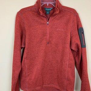 Eddie Bauer pullover half zip copper rust knit